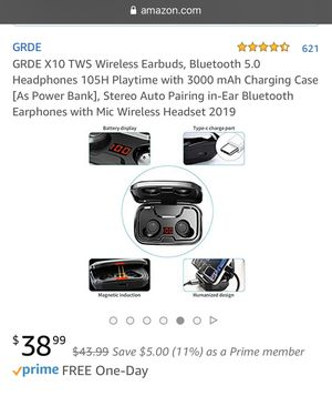 GRDE X10 TWS Wireless Earbuds, Bluetooth 5.0 Headphones 105H Playtime for Sale in Hillsboro, OR