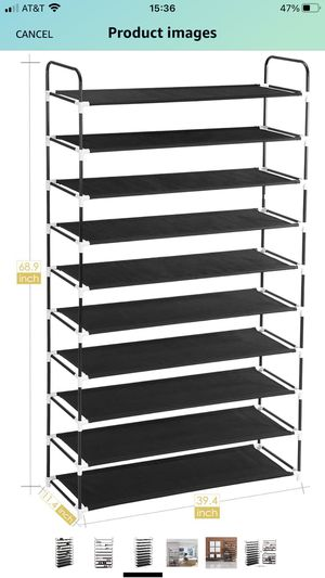 MaidMAX 10 Tiers Free Standing Shoe Rack for 50 Pairs of Shoes Organizer in Closet Entryway Hallway, Metal Frame and Fabric Shelves, 39.4 x 11.4 x 68 for Sale in Hollywood, FL