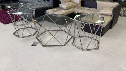3 PCS metal glass Coffee table set🧿no credit check 🧿SRH for Sale in Houston,  TX