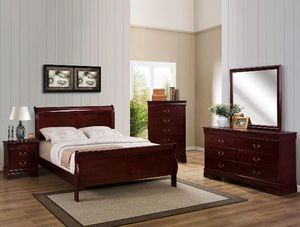 Brand new queen sleigh bedframe + dresser + mirror + nightstand 4PCs bedroom set for Sale in San Diego, CA