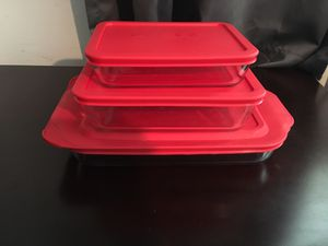Set of 3 Pyrex Glass Containers Red Lids for Sale in Palatine, IL