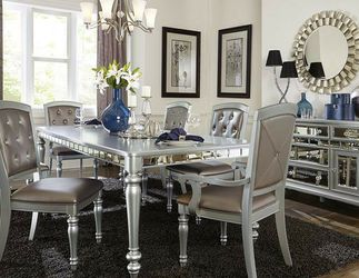 Let Us Feather Your Nest. Orsina Silver Mirrored Extendable Dining Set for Sale in College Park,  MD