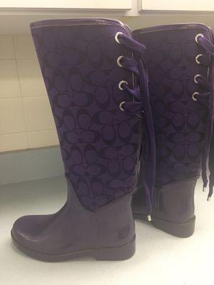Coach woman rain boots size 7 for Sale in Clermont, FL