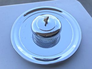 Vintage Kromex Serving Tray and Glass Dish/Bowl for Sale in Clovis, CA