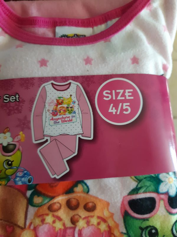 Girls Flannel Pajamas Size 4/5 Trolls And Shopkins