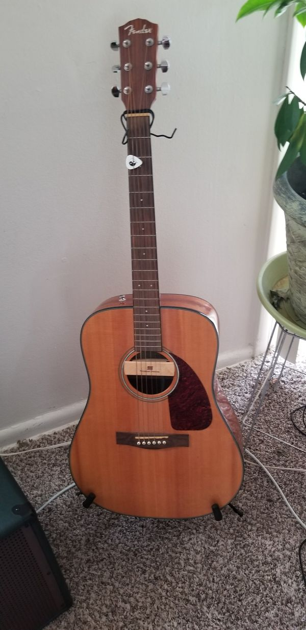Fender CD140S Natural Acoustic guitar w/ installed PU, bag, extras