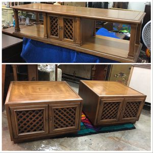 Drexel Esperanto set with Walnut coffee table and 2 Square Cubed Drum Side Accent Lattice Tables for Sale in Miami, FL