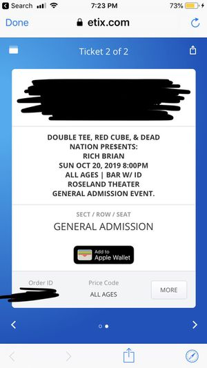 RICH BRIAN TICKET (1) $30 for Sale in Vancouver, WA