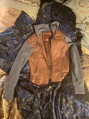 Small faux leather/hoodie jacket for Sale in Grosse Pointe Park, MI