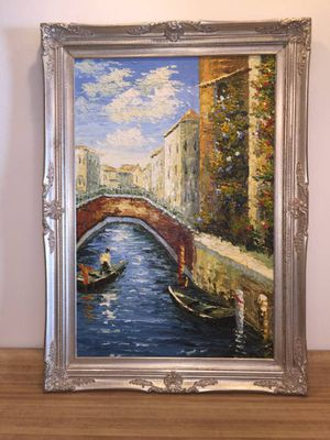 Large heavy textured Venice oil painting on canvas abstract ornate silver solid wood frame for Sale in Tempe, AZ