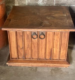Vintage 70's Solid Wood Chest /Coffee/Side Table with Brass pulls & hardware for Sale in San Diego, CA