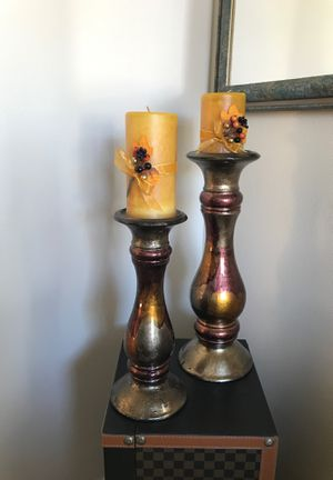 Pier I Pillar candle holders and candles for Sale in Kent, WA