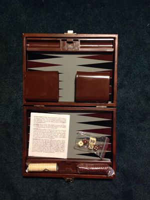 New Backgammon travel set closes in half and secures for Sale in Poulsbo, WA