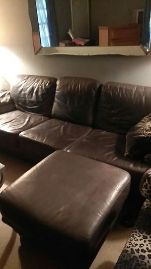 Platinum leather sofa and ottman for Sale in Bartow, FL