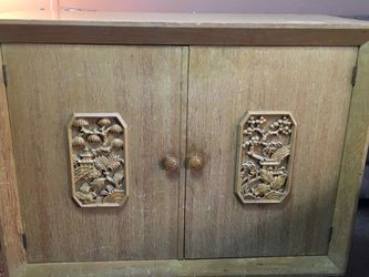 """Vintage Chinese Cabinet Has engraved scenes on front of both drawers 38"""" long 17"""" wide 32"""" tall for Sale in Los Altos Hills,  CA"""