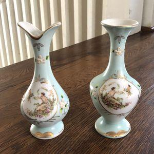Hand-Painted Japanese Porcelain Vase Set for Sale in Houston, TX