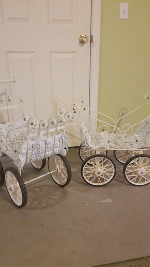 Vintage white scroll metal baby doll stroller for Sale in Denver, CO
