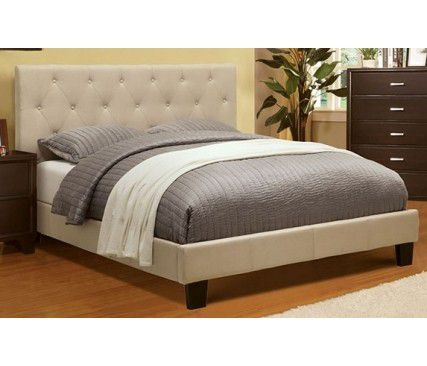 Brand new gray or biege king bed frame + king mattress