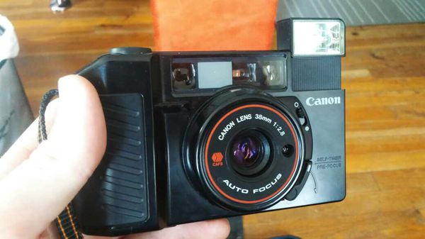 Canon Sure Shot 35mm Camera, Bag, and Lenses