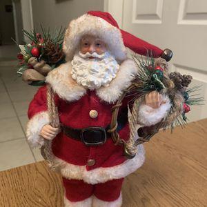 "Vintage Santa Claus 11"" Figure Doll w/ Gift Bag Felt Faux Fur Outfit Pinecones for Sale in Chandler, AZ"