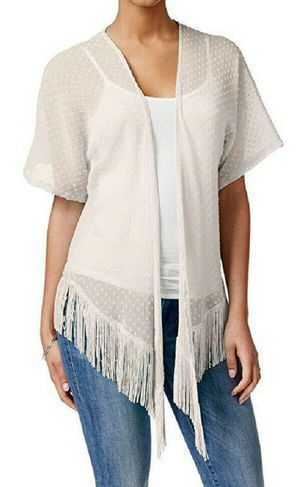 Cejon Solid Swiss Dot Fringe Cover Up (One Size, White) for Sale in Norfolk, VA