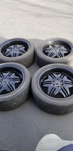 "22"" inch Black Wheels rims and Toyo tires Came off GMC Yukon Denal Wheels Rims Toyo Tires 45% tread left 6Lug for Sale in Federal Way, WA"