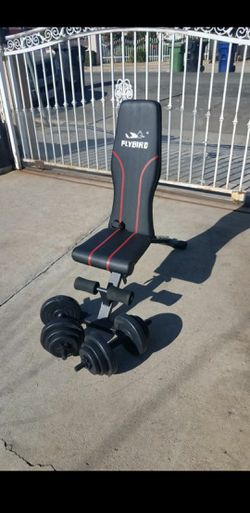 40lbs- 2x20lbs Adjustable dumbbell set with a Foldable Adjustable workout bench NEW for Sale in Montebello,  CA