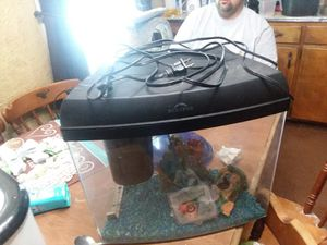 Marine land 5gal complete with hood lights gravel toys air pump and filter for Sale in Delta, OH