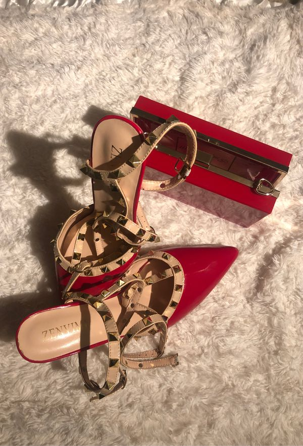 Heel shoes ( ZENVIMI size 9 ) red bag combo