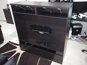 Ikea Besta Boas TV stand black/brown with TV Mount and LED lights for Sale in Ashburn, VA