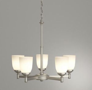 Hampton Bay 5-Light Brushed Nickel Chandelier with frosted Glass Shades for Sale in Lewis Center, OH