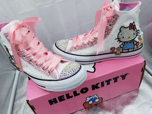 HELLO KITTY SWAROVSKI CRYSTALS DESIGNED CONVERSE for Sale in Fieldsboro, NJ