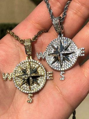 Custom Made 925 Sterling Silver Created CZ 14k Gold Finish COMPASS Iced Out Pendant 24' Rope! SHIPPING ONLY! for Sale in Washington, DC