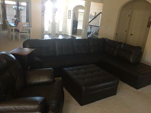Leather sectional, large ottoman & rocker/recliner pick up only for Sale in Senoia, GA