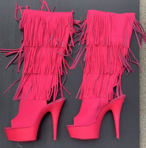 Size 10 boots. Hot pink. Glows in black light. Comfortable for Sale in Mansfield, TX