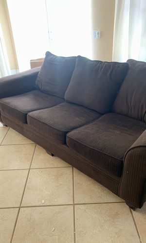 Dark Brown Convertible Couch with full sized mattress for Sale in Pembroke Pines, FL