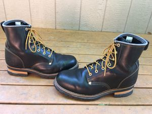 SKECHERS CASCADES BLACK SMOOTH OILED LEATHER HIKING WORK LOGGER BOOTS SIZE 14 for Sale in Puyallup, WA