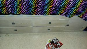 White wooden head board bed frame with bookshelves and drawers. for Sale in Tupelo, MS
