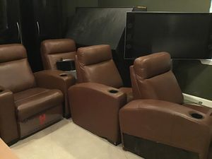 Home theatre seats with ottoman n entertainment center tv if separate then different price for Sale in Plainfield, IL