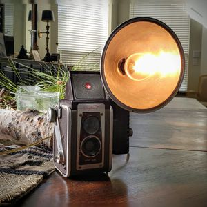Vintage Camera Desk Lamp - Handmade Lamp from an Antique Camera for Sale in Spring, TX