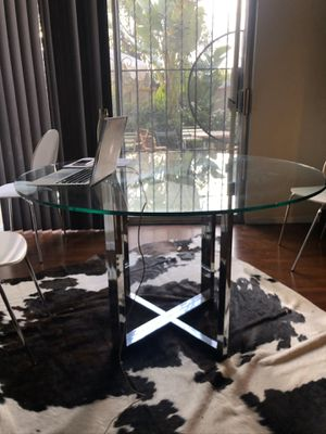 CB2 glass and chrome Silverado dining table for Sale in Los Angeles, CA