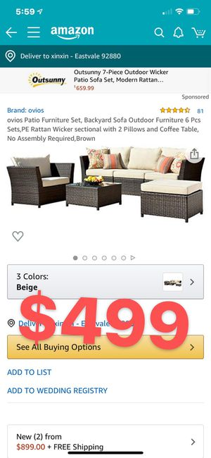 ovios Patio Furniture Set, Backyard Sofa Outdoor Furniture 6 Pcs Sets,PE Rattan Wicker sectional with 2 Pillows and Coffee Table, No Assembly Require for Sale in Corona, CA