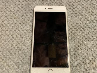 iPhone 6+ Silver Cracked Screen and Sim Tray won't come out for Sale in Quincy,  MA
