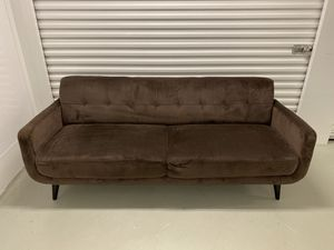 Brown Microfiber Sofa w/ Tufted Back - Mid Century Style for Sale in North Wales, PA