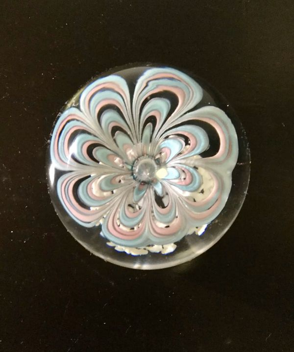 Vintage Large Art Glass Paperweight, Blue Pink Flower 3 1/2
