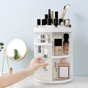 New makeup Carousel White Vanity Cosmetics Adjustable Slots for Sale in Riverside, CA