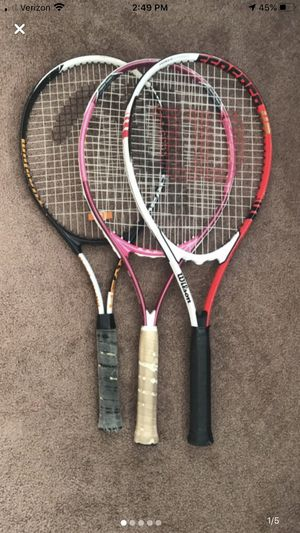 Three Tennis rackets and three balls for Sale in Pittsburg, KS