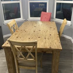Dining Table - All Real Wood - 4 Chairs for Sale in Maple Valley,  WA