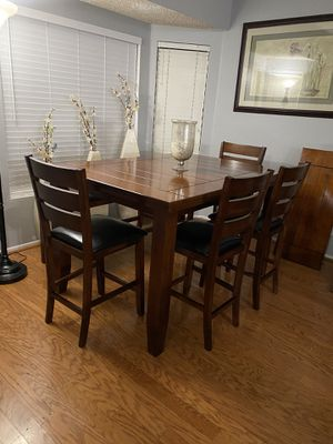 Dining Table With 4 Leather Chairs and 1 Bench (Like New)) OBO for Sale in Rancho Cucamonga, CA