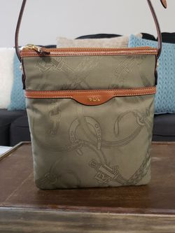 LAUREN by RALPH LAUREN Calvary Flat Crossbody Bag- Printed Nylon and Brown Leather for Sale in Stonecrest,  GA